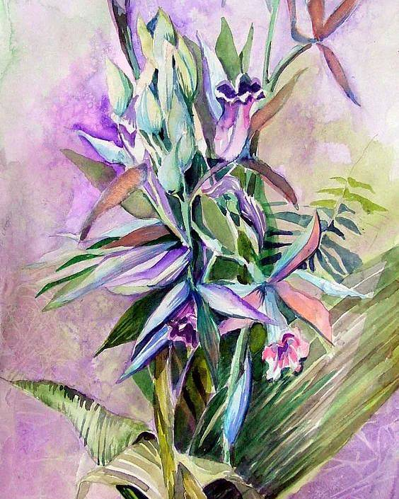 Orchids Poster featuring the painting Orchids- Botanicals by Mindy Newman