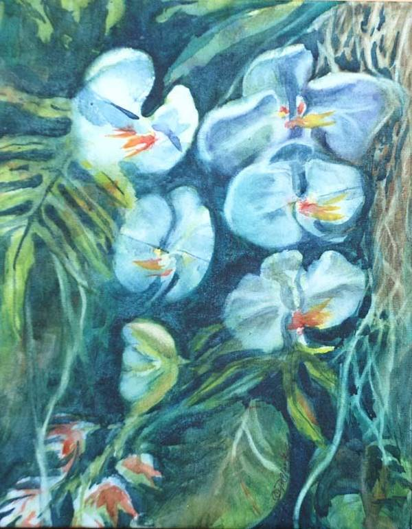 Floral Poster featuring the painting Orchids by Donna Pierce-Clark
