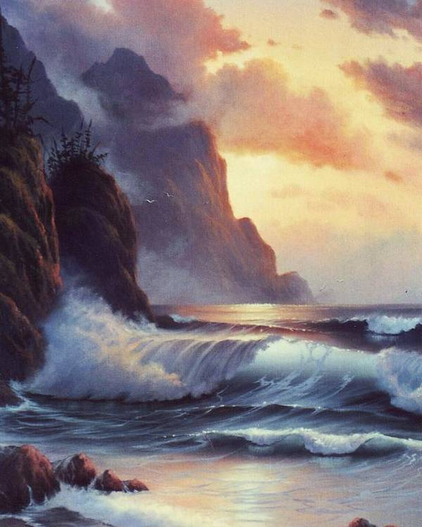 Sunset Of Oregon Coast  Seascape Poster featuring the painting Oregon Sunset by Lynne Parker