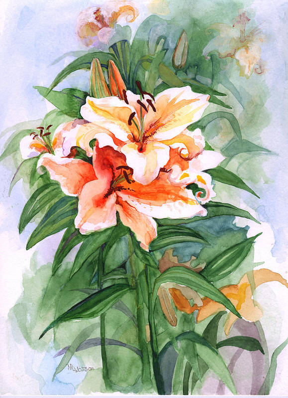 Lily Poster featuring the painting Oriental Lilies by Nancy Watson