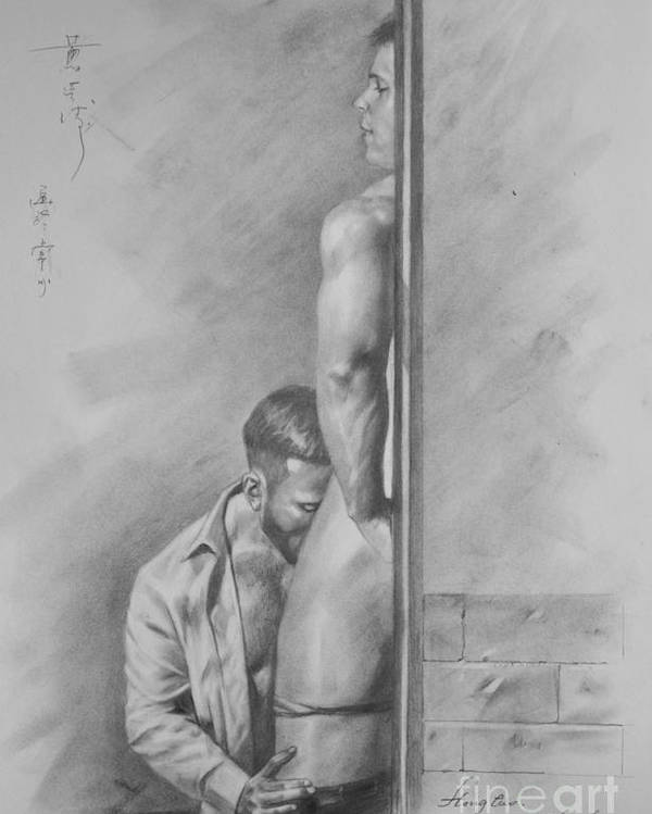 Original drawing poster featuring the painting original drawing sketch charcoal gay interest man body art pencil