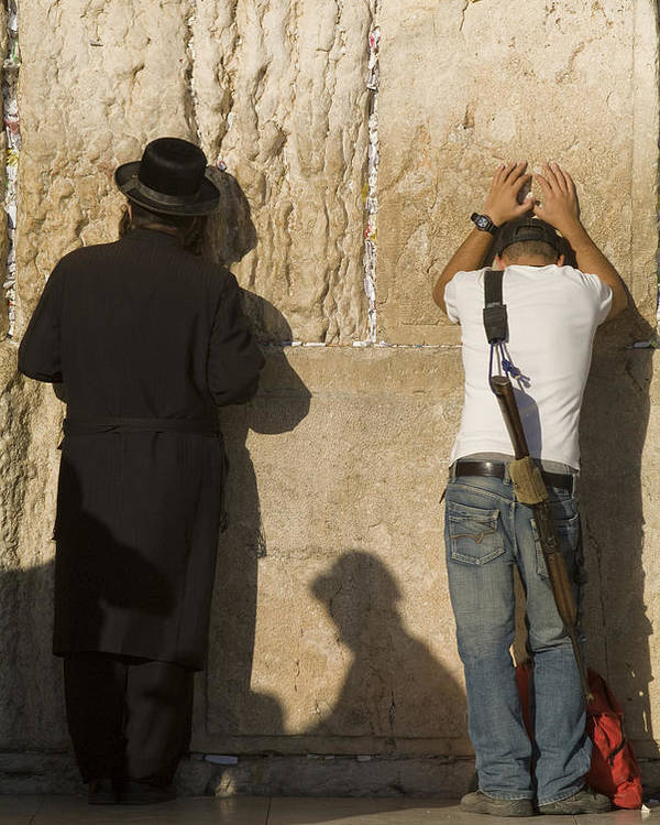 Judaism Poster featuring the photograph Orthodox Jew And Soldier Pray, Western by Richard Nowitz