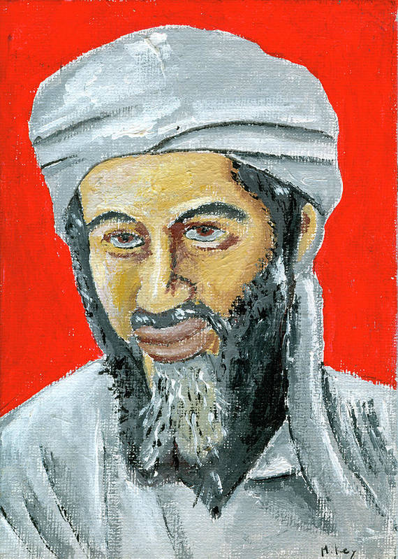 Bin Laden Poster featuring the painting Osama by Mikey Milliken
