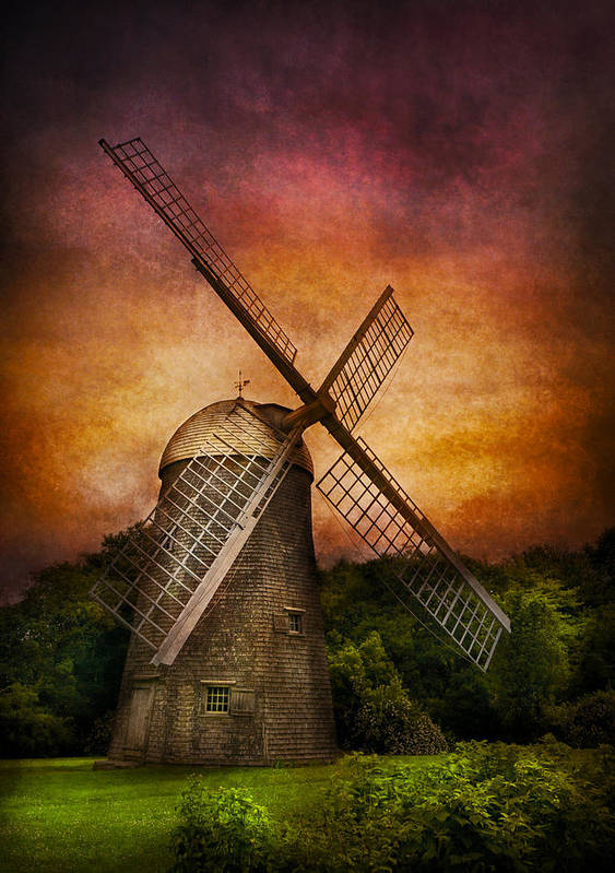 Hdr Poster featuring the photograph Other - Windmill by Mike Savad