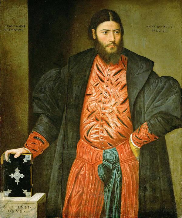 Bernardino Licinio Poster featuring the painting Ottaviano Grimani. Procurator Of San Marco by Bernardino Licinio