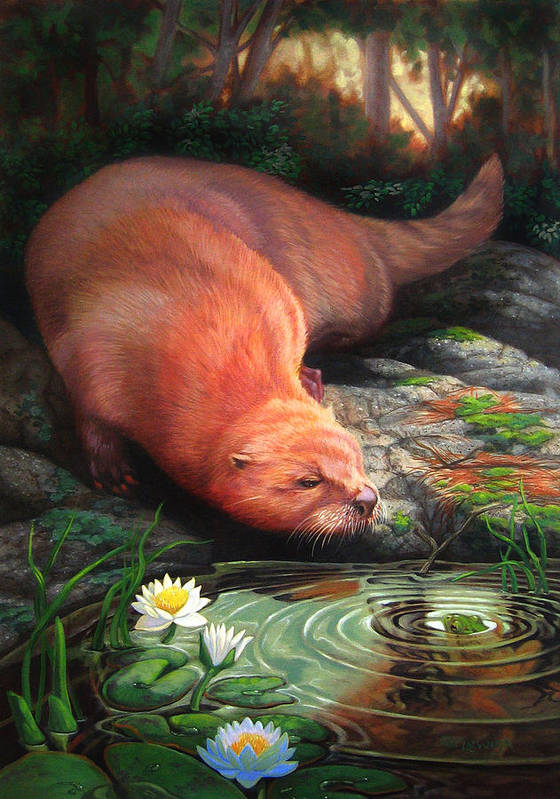 Otter Poster featuring the painting Otter by Pat Lewis