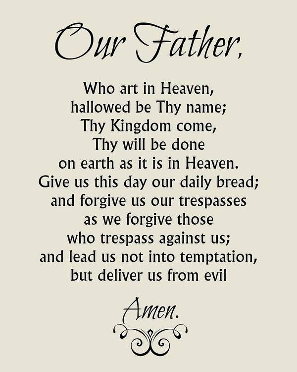 Our Father Prayer Catholic Lord S Prayer Poster By