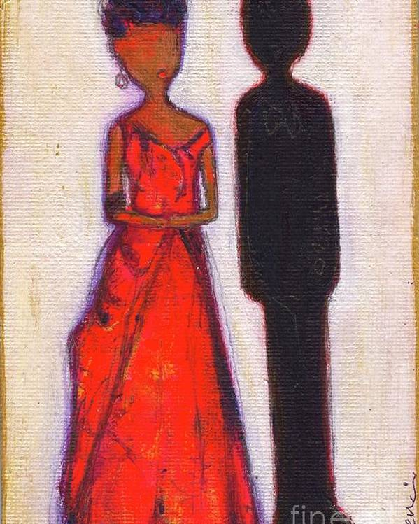 Girl Poster featuring the painting Our First Lady In Red Her Husband Is Black by Ricky Sencion