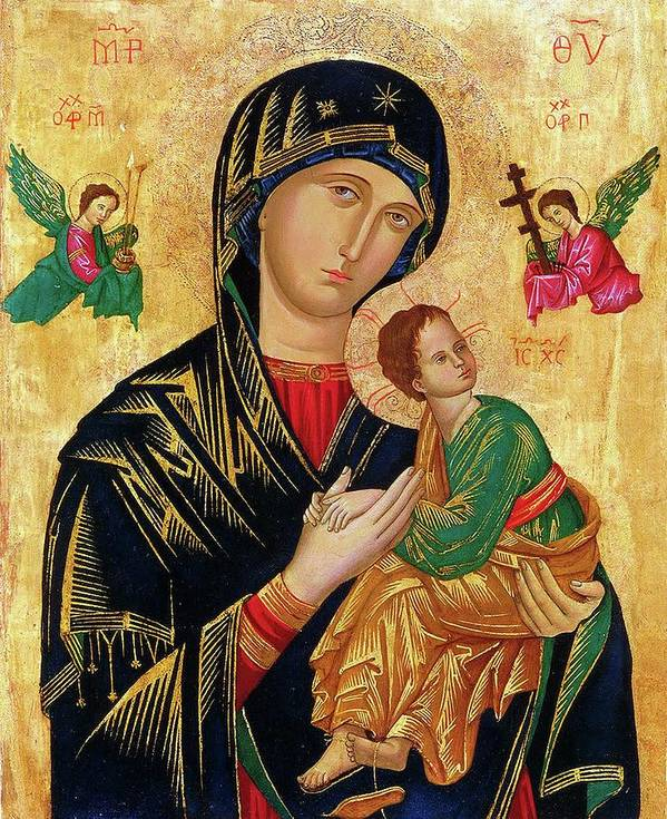 Our Poster featuring the painting Our Lady of Perpetual Help Icon by Magdalena Walulik