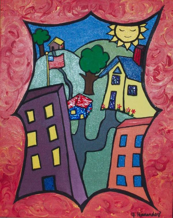 Poster featuring the painting Our Town by Jennifer Hernandez
