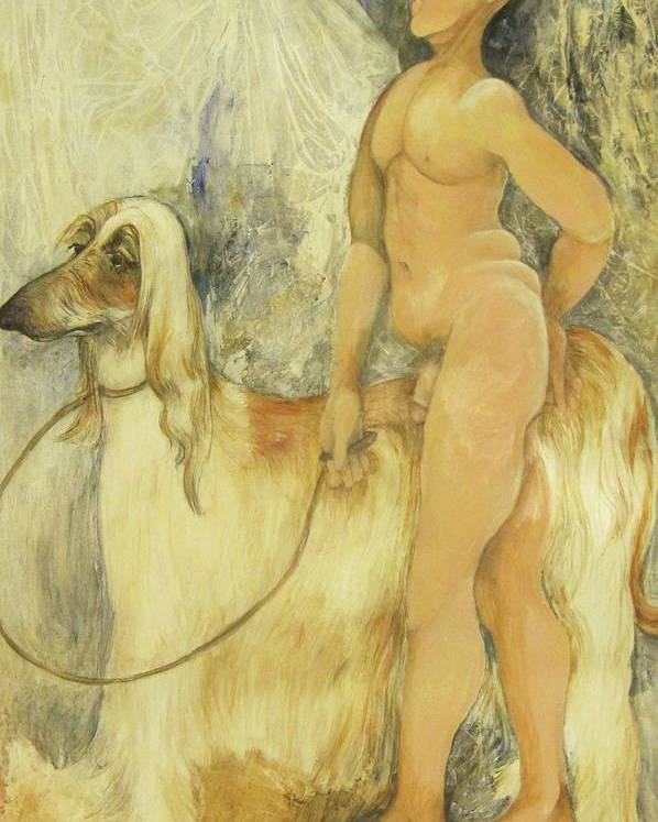 Nude Figure Poster featuring the painting Out For A Walk by Georgia Annwell