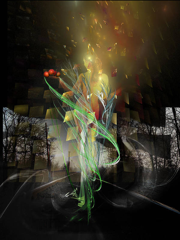 Digital Poster featuring the digital art Out Of Darkness by Aniko Hencz