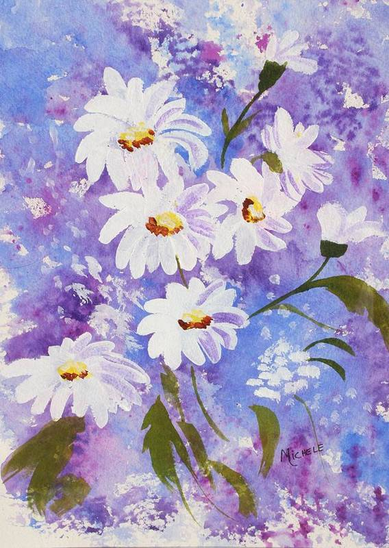 Flowers Poster featuring the mixed media Out Of The Blue by Michele Turney