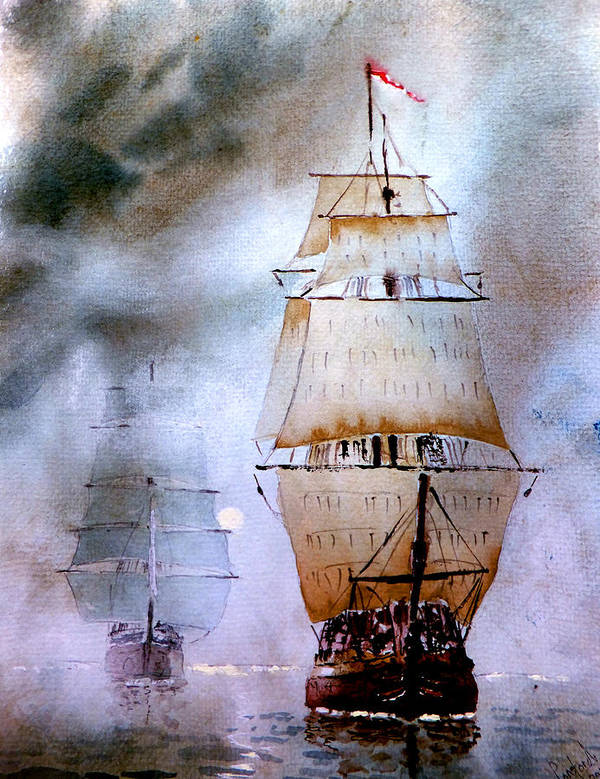 Seascape Poster featuring the painting Out Of The Mist by Steven Ponsford