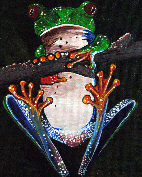 Tree Frog Poster featuring the painting Out On A Limb by Sharon Supplee