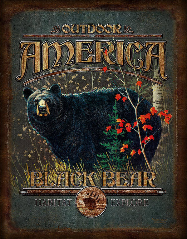 Robert Schmidt Poster featuring the painting Outdoor Bear by JQ Licensing