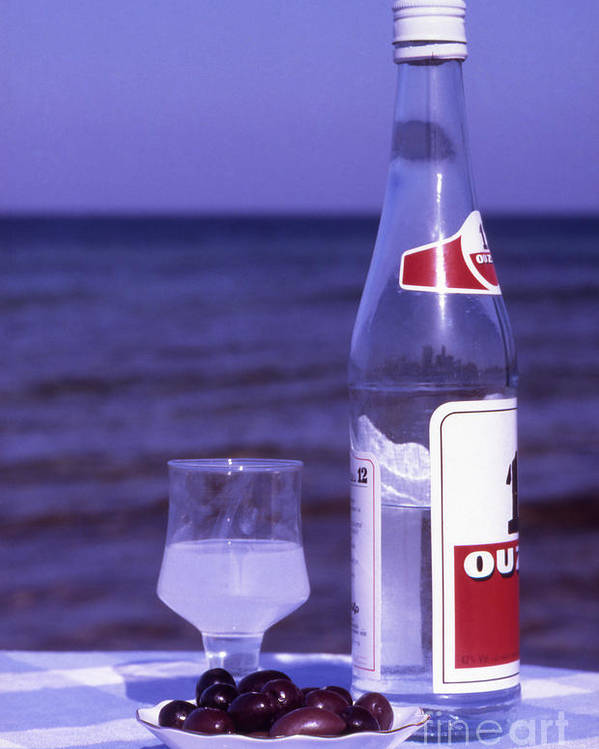 Drink Poster featuring the photograph Ouzo And Olives By The Sea by Steve Outram