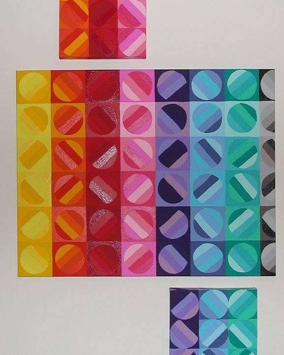 Multi Colored Circles Painting Poster featuring the painting Over And Under The Rainbow by Gay Dallek