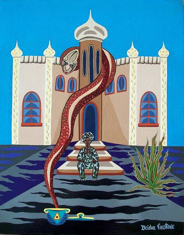 Snake Art Poster featuring the painting Overlooked By Poisonous Terror by Deidre Firestone