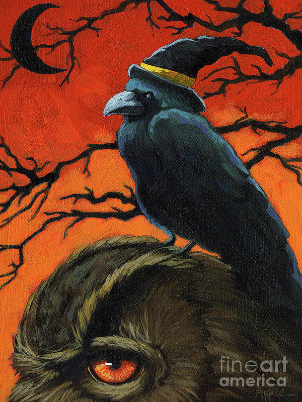 Crow Poster featuring the painting Owl And Crow Halloween by Linda Apple