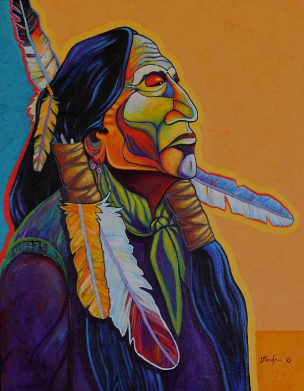 Native Poster featuring the painting Owner Of Many Coup by Joe Triano