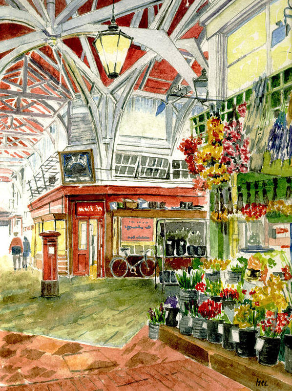 Apples Poster featuring the painting Oxford's Covered Market by Mike Lester