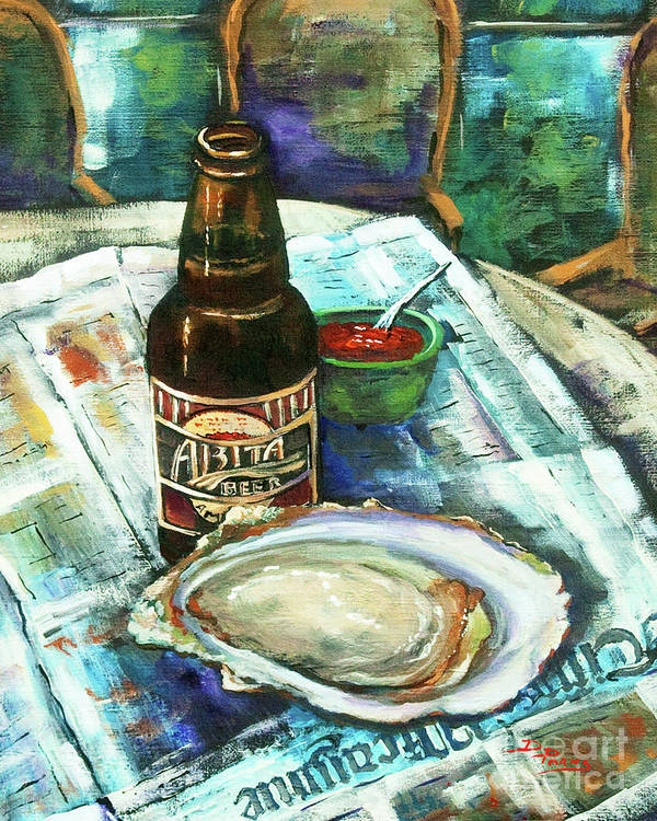 Oyster Poster featuring the painting Oyster And Amber by Dianne Parks