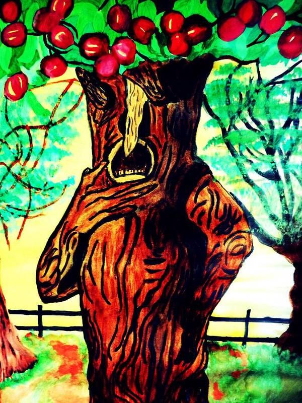 Wizard Of Oz Oz Apple Tree Alking Apple Tree Fairytale Poster featuring the pastel Oz Grumpy Apple Tree by Jo-Ann Hayden
