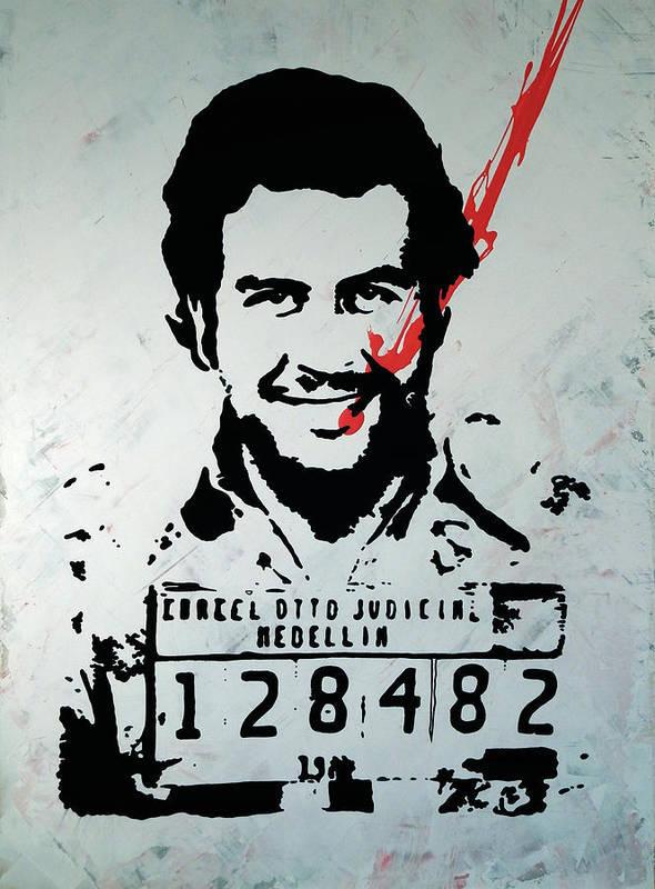 Street Art Painting, Stencil-graffiti Style, Pablo Escobar