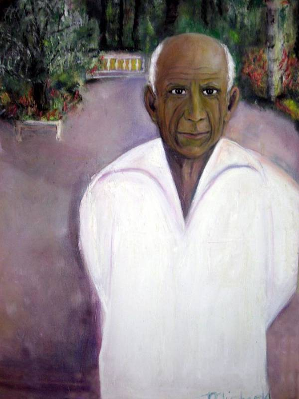 Famous Artist Poster featuring the painting Pablo Picasso At Villa Mariposa by Michela Akers