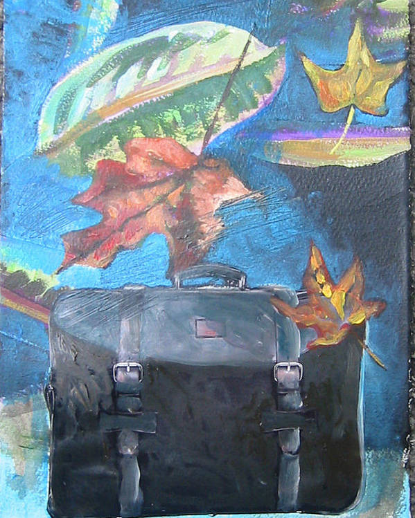 Suitcase Poster featuring the mixed media Packed Bag by Tilly Strauss