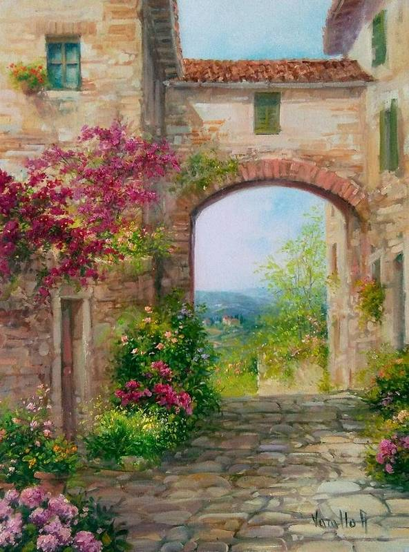 Flowers Poster featuring the painting Paese In Toscana - Italy by Antonietta Varallo
