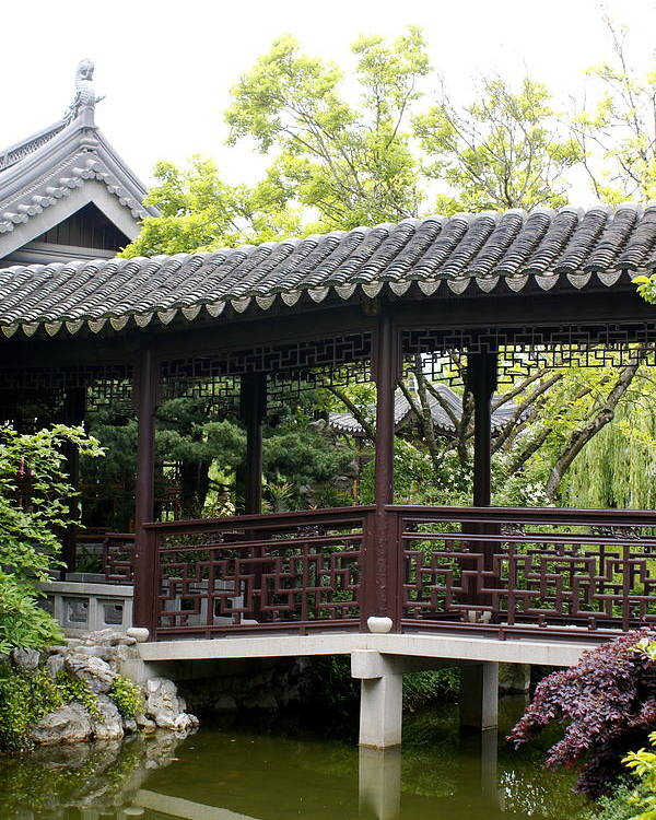 Chinese Garden Poster featuring the photograph Pagoda by Sonja Anderson