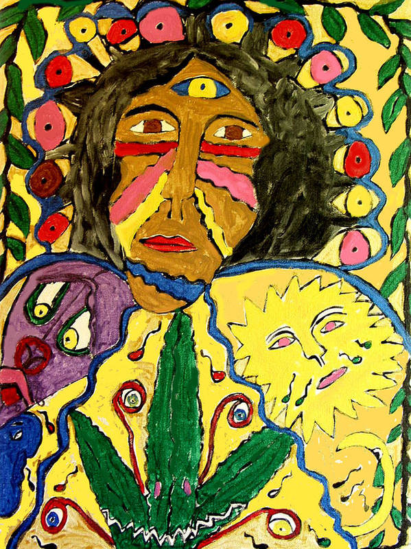 Paint Face Fantasy Poster featuring the painting Painted Face by Betty Roberts