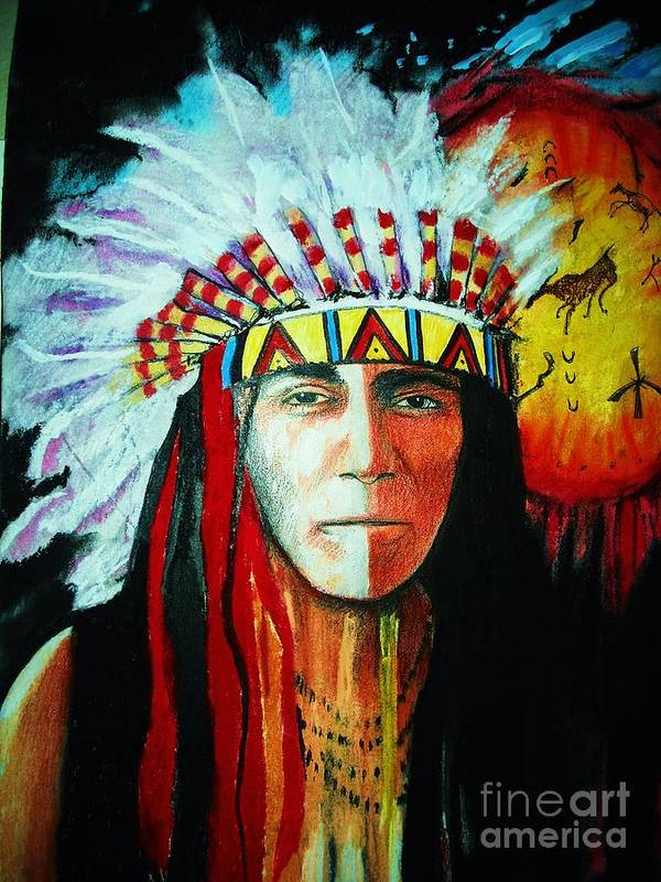 Red Poster featuring the mixed media Painted Face Warrior by Lynda Clark