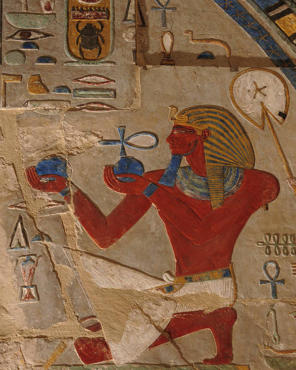 Indoors Poster featuring the photograph Painted Relief Of Thutmosis IIi by Kenneth Garrett