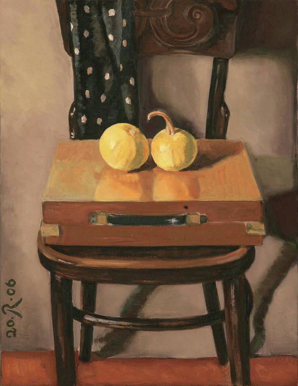 Still-life Chest Chair Brown Yellow Reflection Cucurbit Poster featuring the painting Painters Chest by Raimonda Jatkeviciute-Kasparaviciene