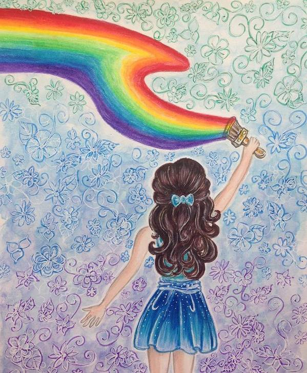 Rainbow Poster featuring the drawing Painting Rainbow by Julianne W