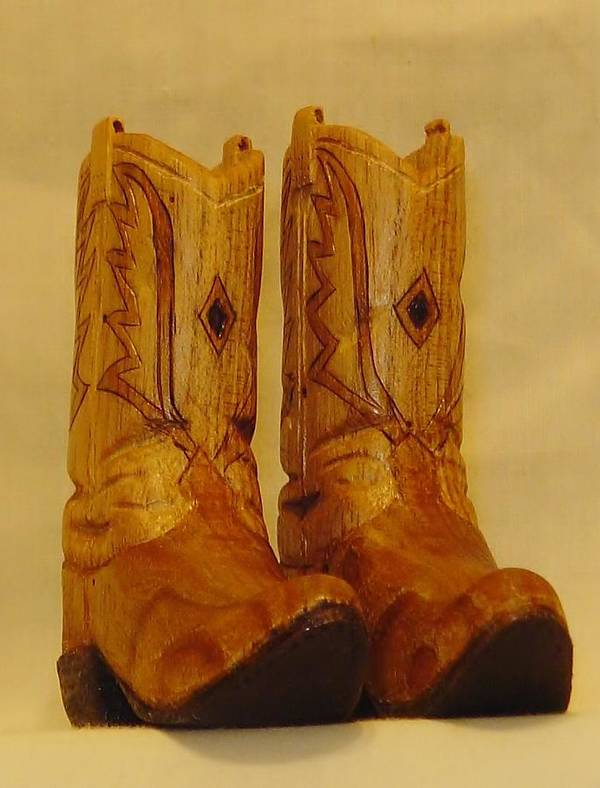 Woodcarving Poster featuring the sculpture Pair Of Cowboy Boots by Russell Ellingsworth