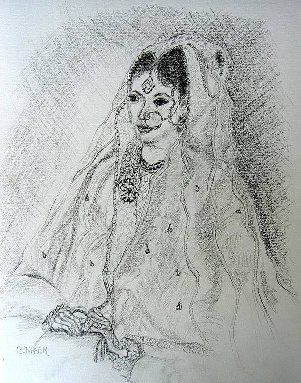 Pakistani Poster featuring the drawing Pakistani Bride by Caroline Urbania Naeem