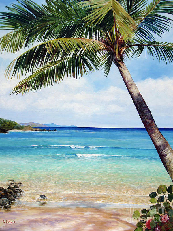 Seascape Poster featuring the painting Palm Beach by Nancy Isbell