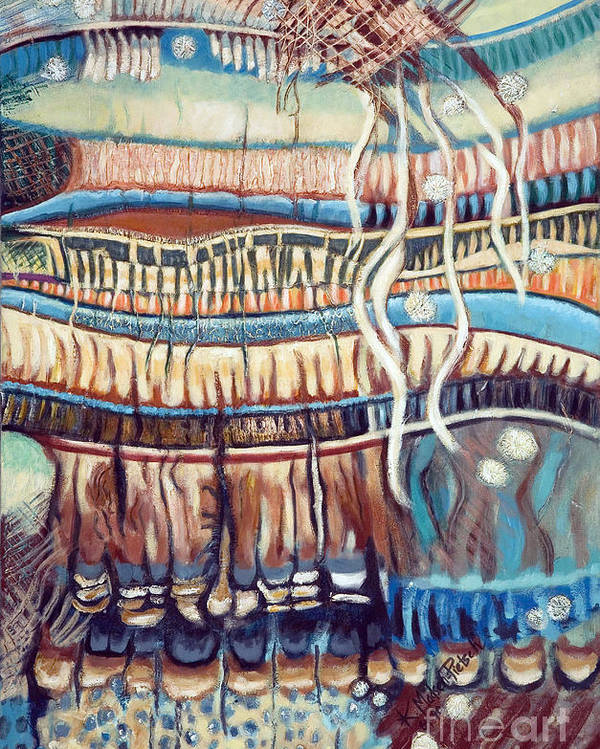 Abstract Poster featuring the painting Palm Contractions by Kerryn Madsen-Pietsch