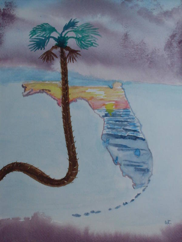 Landscape Watercolor Palm Tree Poster featuring the painting Palm Over Florida by Warren Thompson