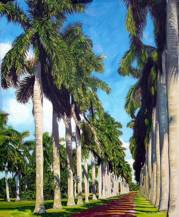 Palms Poster featuring the painting Palms by Jose Manuel Abraham