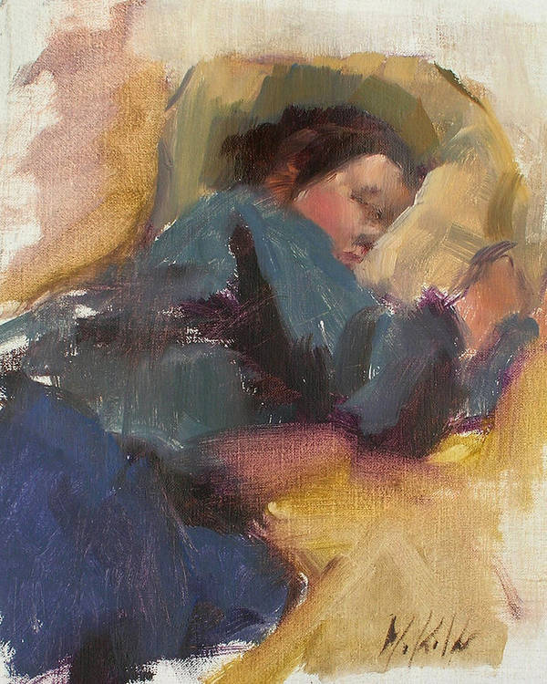 Figurative Poster featuring the painting Pam Resting by Merle Keller