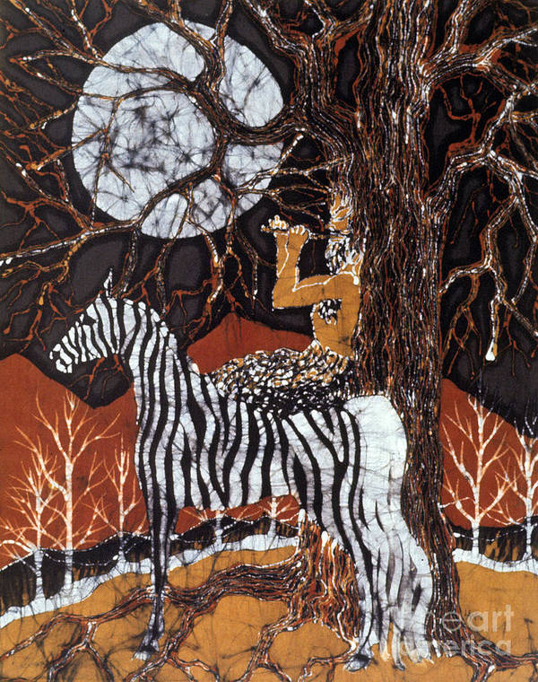 Zebra Poster featuring the tapestry - textile Pan Calls The Moon From Zebra by Carol Law Conklin