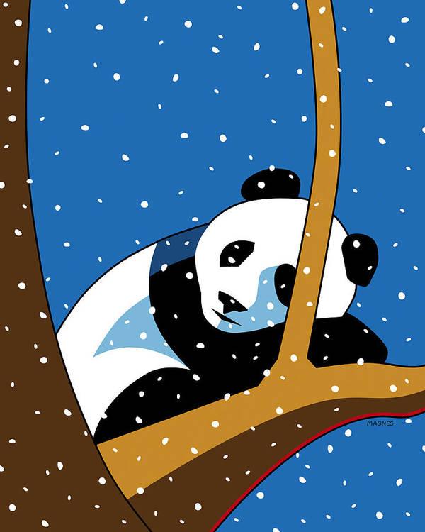 Panda Poster featuring the digital art Panda at Peace by Ron Magnes