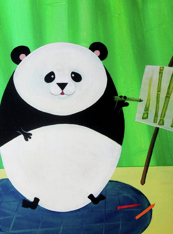 Panda Poster featuring the painting Panda Drawing Bamboo by Lael Borduin