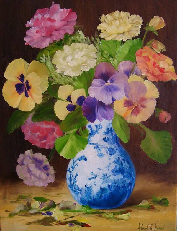 Painting Of Flowers Poster featuring the painting Pansies And Ranunculus by Thuthuy Tran