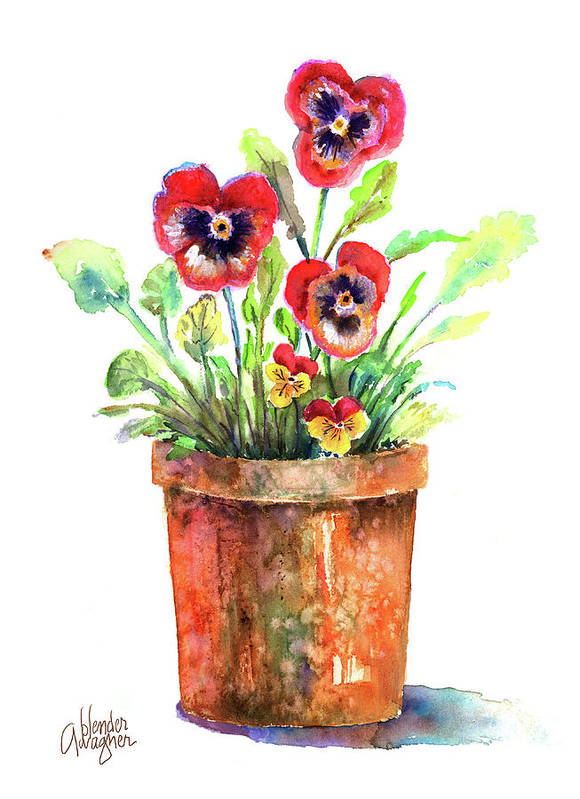 Pansy Poster featuring the painting Pansies In A Clay Pot by Arline Wagner
